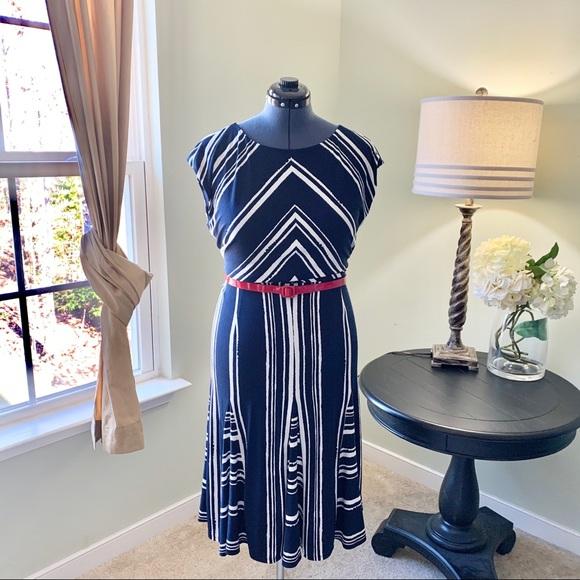 Jones New York Dresses & Skirts - Jones New York Mixed Striped Midi Dress Size 16